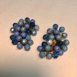 Vintage gold clip on blue beaded earrings